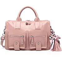Caransti ladies leather messenger bag business briefcase computer bag retro handbag (Pink)