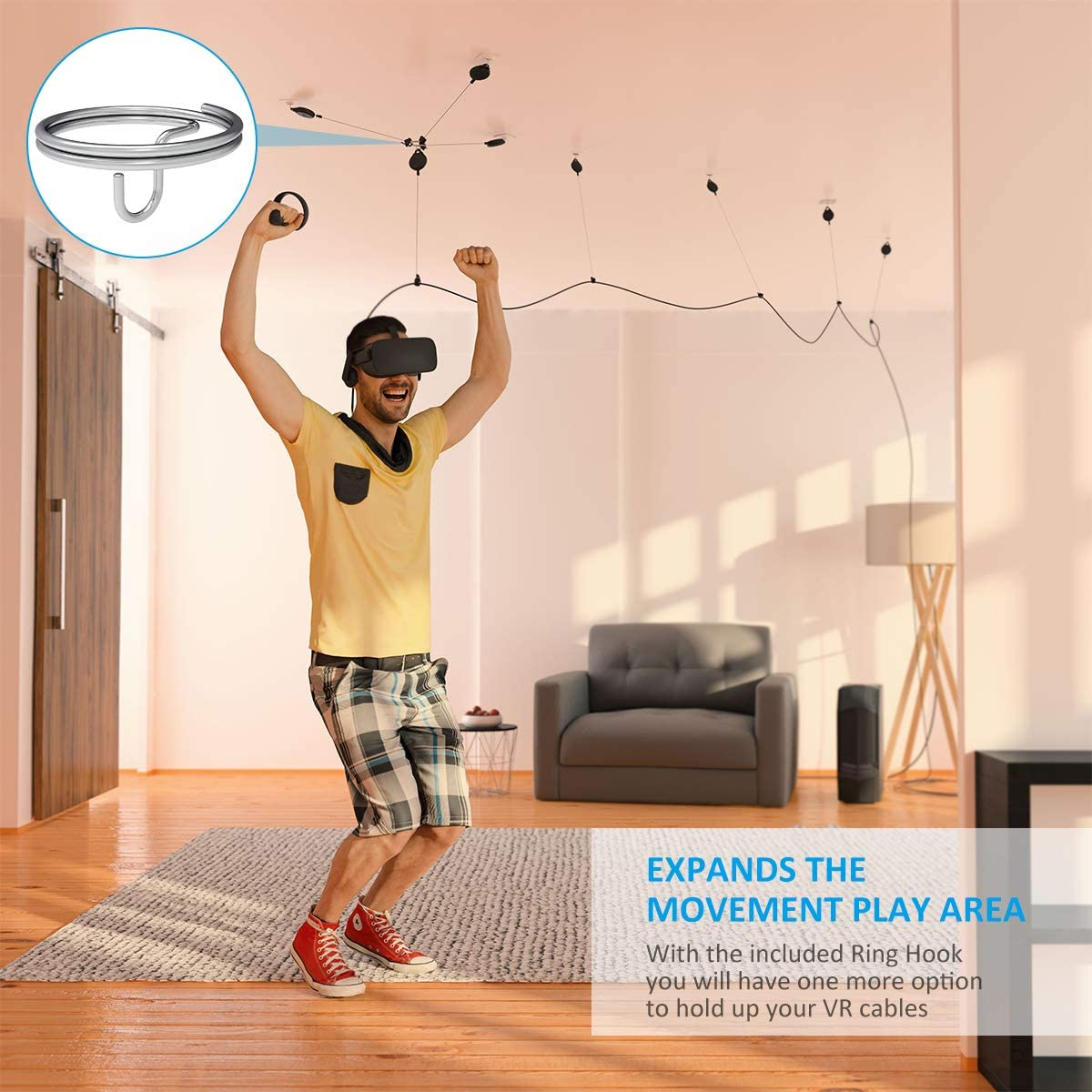 Pro Version 6 Packs Retractable Ceiling Pulley System for HTC Vive//HTC Vive Pro//Oculus Rift S//PS VR//Microsoft MR//Samsung Odyssey VR Accessories KIWI design VR Cable Management White