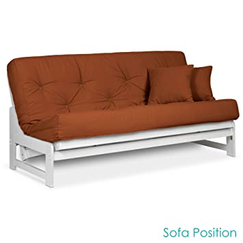 arden armless white wood futon frame full or queen size   solid hardwood sofa bed frame amazon    arden armless white wood futon frame full or queen      rh   amazon