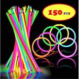 "150 Ultra Bright Glow Sticks - 8"" Bracelets Glow Stick With 150 Connectors - Total 300 Pcs- Bulk Party Pack Ultra Bright Glowsticks - 10 Hour Duration - Mixed Colors In 3 Tubes"