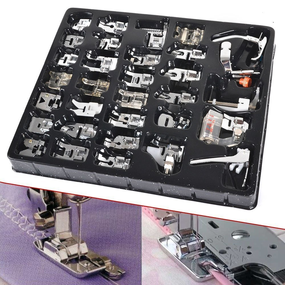 32pcs Sewing Crafting Presser Foot Feet Foot Set for Janome Toyota Brother Singer Domestic Low Shank Sewing Machine WonderOwning