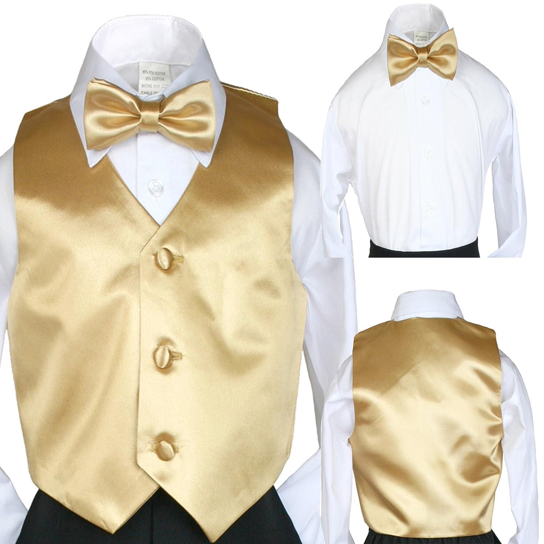 Classic Fashion Boy Suit Party Formal Wedding Colors Satin Vest /& Bow tie 5-14
