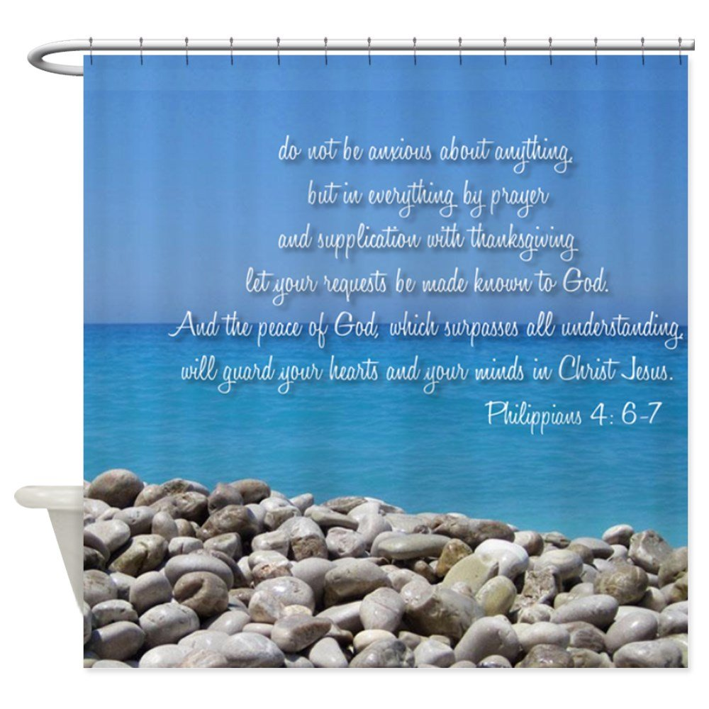 CafePress - Philippians 4:6-7 - Decorative Fabric Shower Curtain (69''x70'')