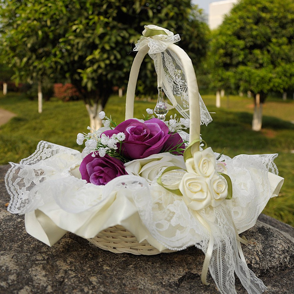 Amazon Flower Girl Baskets The Fabric Lace Decoration Cute