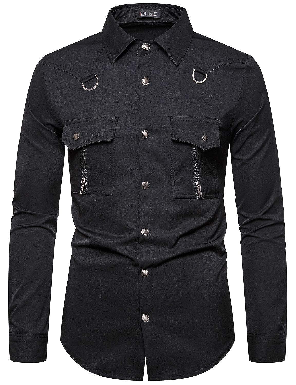 Steampunk Mens Shirts ief.G.S Mens Vintage Casual Gothic Button Down Long Sleeve Dress Shirt $28.99 AT vintagedancer.com