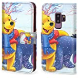 """DISNEY COLLECTION Wallet Case Fit for Samsung Galaxy S9 Plus (2018) (6.2"""") Eeyore Winnie The Pooh and Piglet Cartoon Walt Disney Christmas HD Wallpaper Magnetic"""