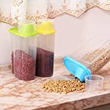 Kurtzy Cereal Dispenser Jar 2500ml Set of 3 Idle For Kitchen- Storage Box Lid Food Rice Pasta Container(Set of 3,Multicolor)