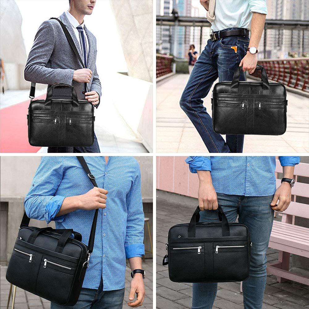 BAIGIO Men's 14'' Laptop Briefcase Genuine Leather Business Satchel Handbag Shoulder Tote Bag (Black) by BAIGIO (Image #7)