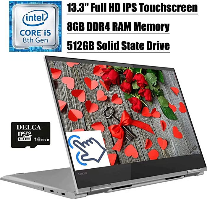 "2020 Flagship Lenovo Yoga 730 2 in 1 Laptop Computer, 13.3"" FHD IPS Touchscreen, Intel Quad-Core i5-8250U (>i7-7500U), 8GB DDR4 512GB SSD, Thunderbolt Backlit BK FP Win 10 + Delca 16GB Micro SD Card"
