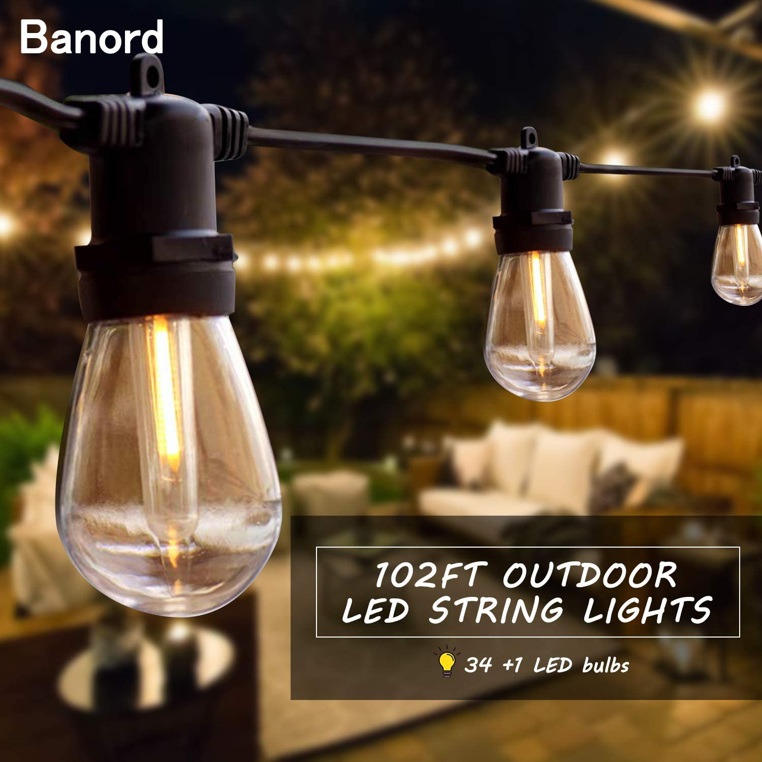 Banord 51FT Outdoor Shatterproof LED String Lights, Waterproof 17 Hanging Sockets with 18 x Dimmable LED Bulb Garden Light String, Waterproof Vintage Patio Lights for Wedding Party : Garden & Outdoor