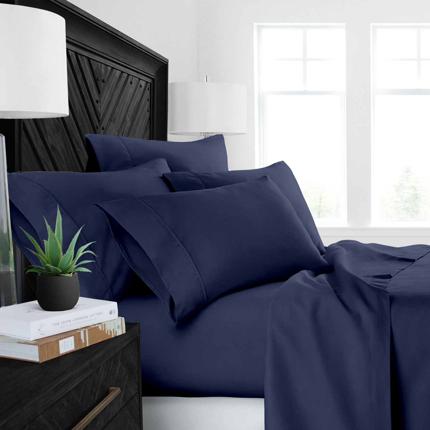 Sleep Restoration Luxury Bed Sheets with All-Natural Pure Aloe Vera Treatment - Eco-Friendly, Hypoallergenic 4-Piece Sheet Set Infused with Soothing/Moisturizing Aloe Vera - Full - Navy