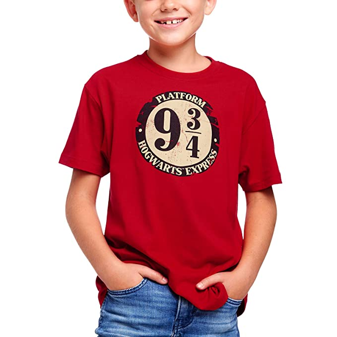 a91666d2c Camiseta para niños Harry Potter Pista 9 3/4 Hogwarts Express Elven Forest  Cotton Red: Amazon.es: Ropa y accesorios