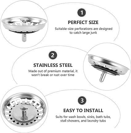 Waschbeckenst/öpsel Abflussdeckel Abflussstopfen Filtro Silber BESTONZON 2 Stk