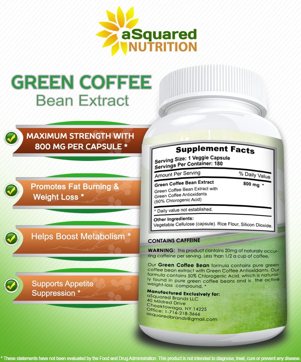 100% Pure Green Coffee Bean Extract - 180 Capsules - Max Strength Natural GCA Antioxidant Cleanse for Weight Loss, 800mg w/ 50% Chlorogenic Acid per Pill, 1600mg Daily Supplement, Healthy Fat Burner by aSquared Nutrition (Image #7)
