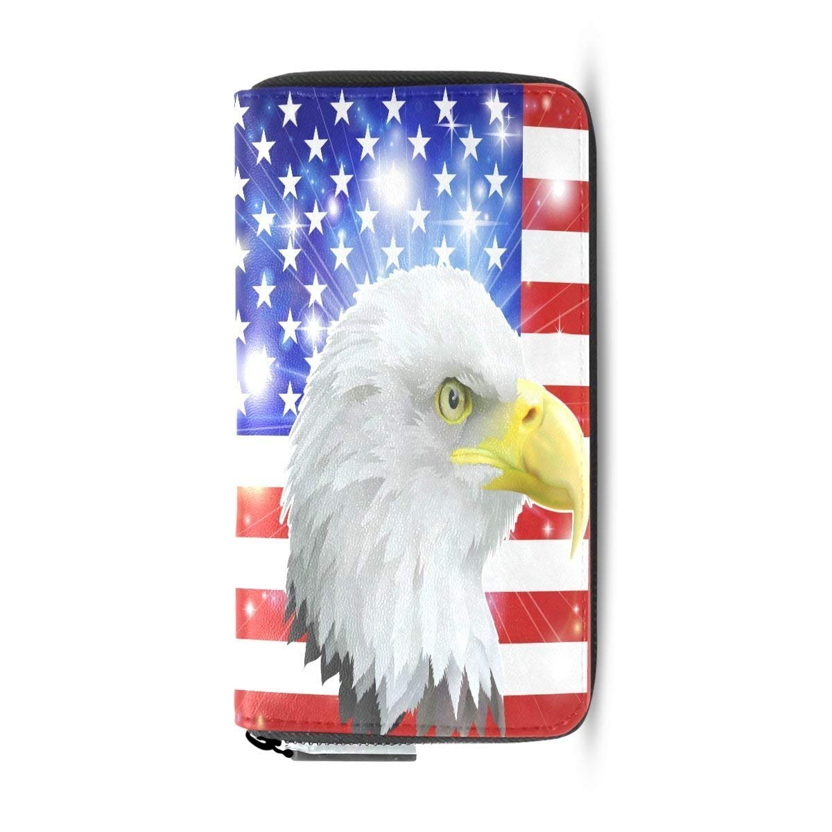 Womens Wallets Fashion Eagles American Usa Flag Card Case Holder Clutch Purse Handbag