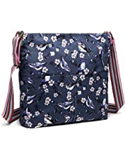 Miss lulu Women Messenger Bags School Bag for Teen Girls Bird Flower Canvas Leisure Slouchy Cross Body Shoulder Satchel