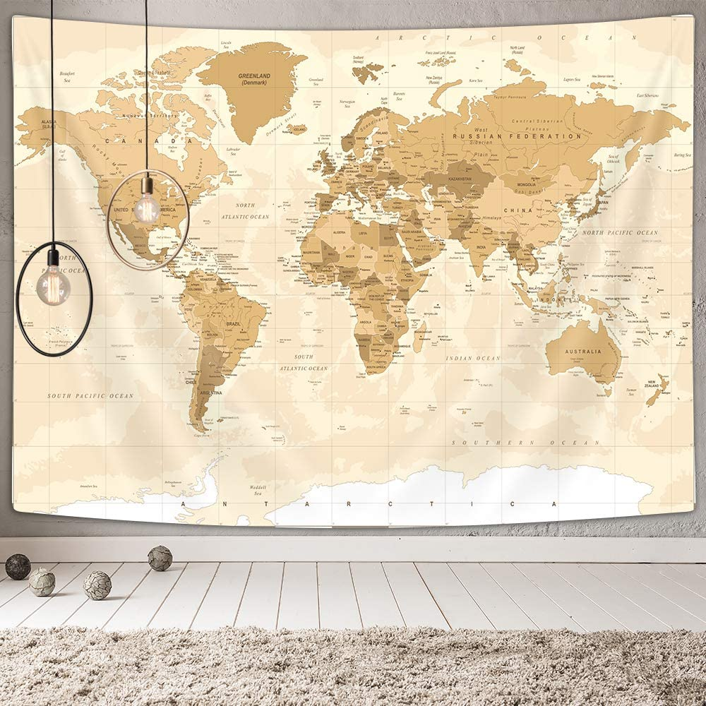 SenRan Old World Map Tapestry, Vintage Asia Europe South City Topography America Africa Japan Hanging Tapestries, Map of World Wall Decor Tapestrt for for Bedroom Living Room Home Wall, 60X40 Inches