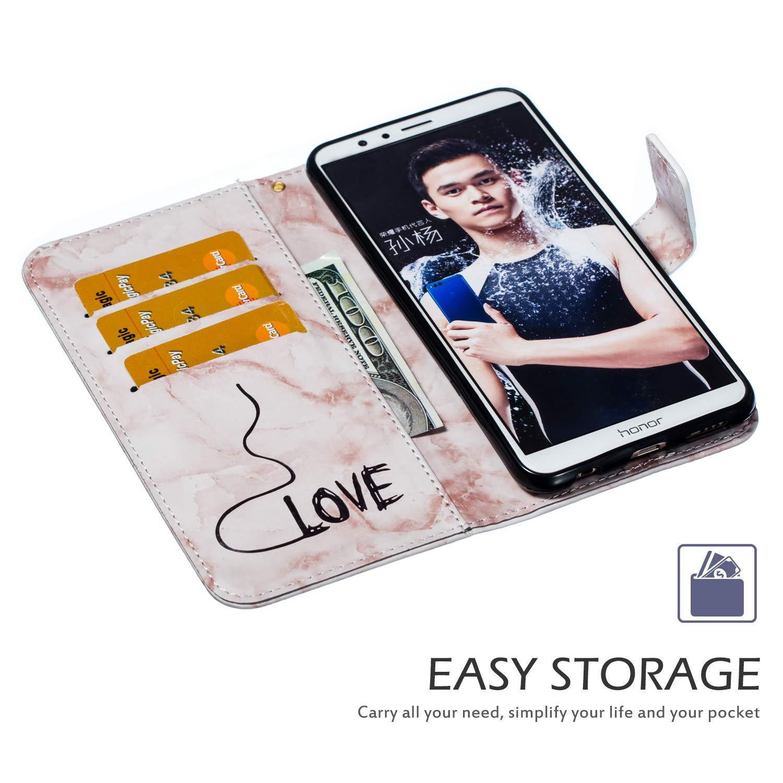 Ukayfe Coque Compatible avec Huawei Honor 7X PU lamour Marbre Portefeuille Cuir Housse Etui de Protection Magn/étique avec Fente pour Carte Coque Arri/ère Anti Choc Cover for Huawei Honor 7X-Bleu