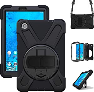 TSQQST Case for Lenovo Tab M8 for Kids / Case for Lenovo Smart Tab M8 2019 Heavy Duty Rugged Protective Case w/ Stand Hand Shoulder Strap for Lenovo Tab M8 HD Tablet TB-8505F TB-8505X TB-8505FS-Black