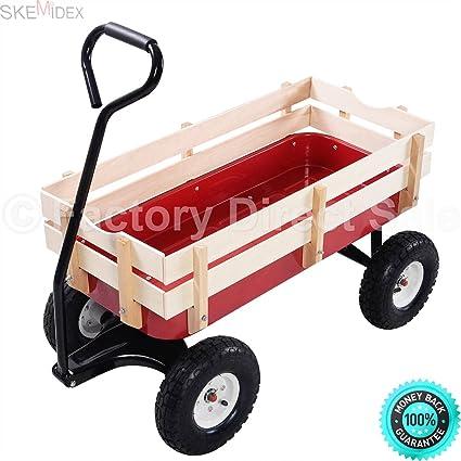 Merveilleux SKEMIDEX   Outdoor Wagon ALL Terrain Pulling Children Kid Garden Cart W/  Wood