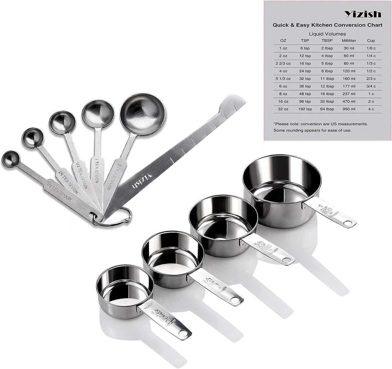 Yizish tazas de acero inoxidable de medición y cucharas con la regla de medición, tabla de conversión de la cocina conjunto de 10, para ingredientes secos y líquidos