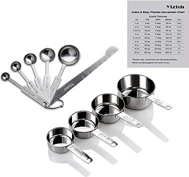 10 Pezzi Acciaio Inossidabile Cucchiai Dosatori e Tazze di Misurazione Utensile da Cucina per Grani Spezia Zucchero Sale Olio Polvere di Caff/è Salsa Polvere Proteica Cucchiaino
