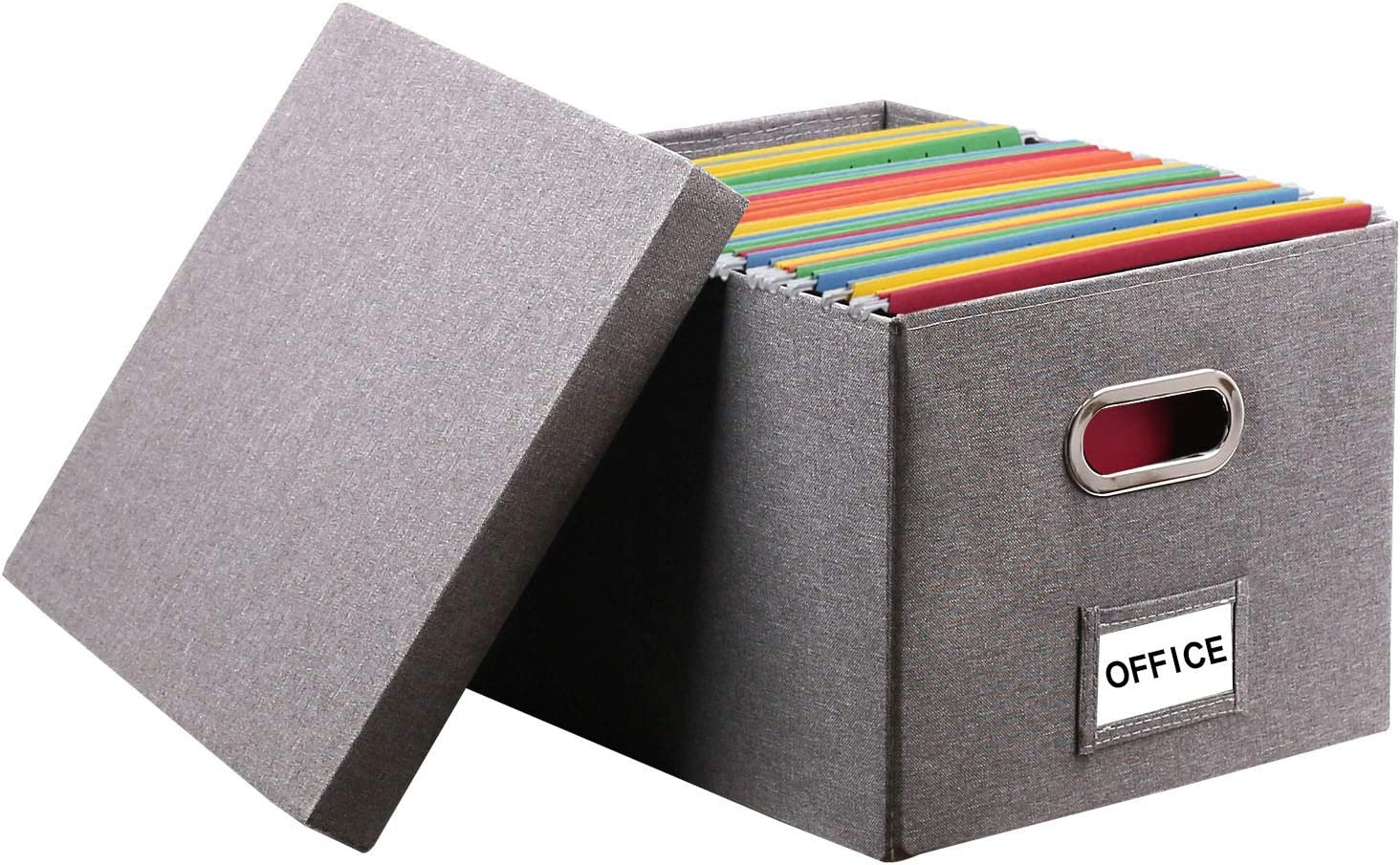 InStorages Collapsible File Box Storage Organizer with Lid,Decorative Linen Filing and Letter/Legal Storage Bins Grey(1 Pack)