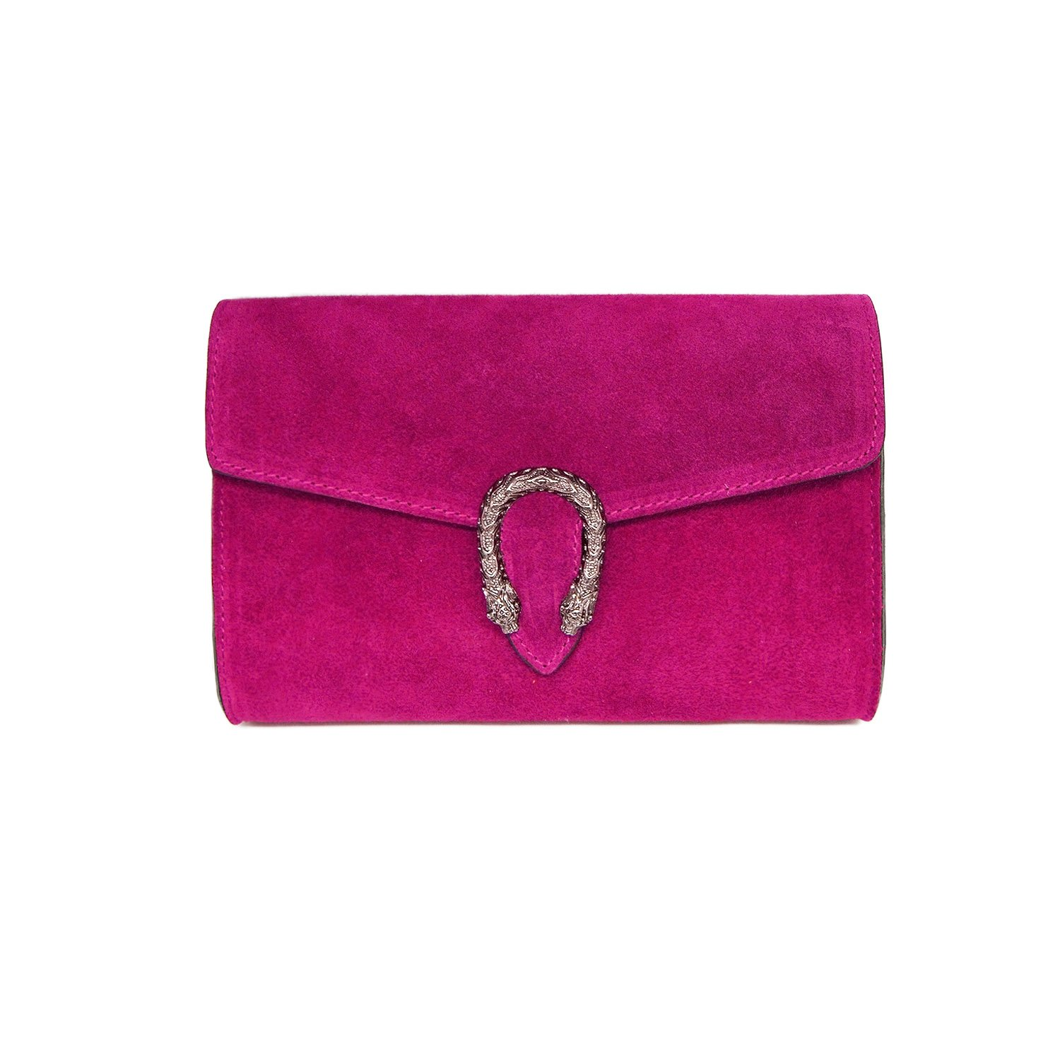 Italian cross body chain bag, designer evening purse, shoulder bag, handbag, flap bag, suede genuine leather (Clutch, Fuchsia)
