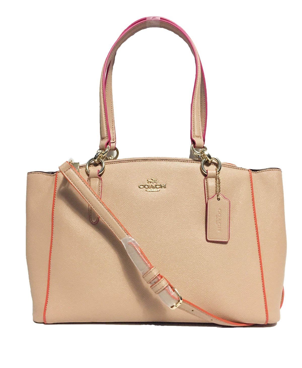 COACH Crossgrain Leather Christie Carryall Handbag (Small, IM/Nude Pink Multi)