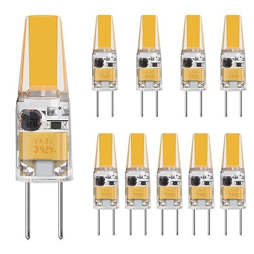 TINS 10 X G4 3W Bombilla LED, 3000K Blanco Cálido 250LM LED Lámpara de Doble