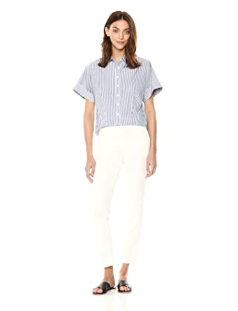 a023f882 Theory Women's Short Sleeve Cropped Buttondown Shirt, Blue/White, ...