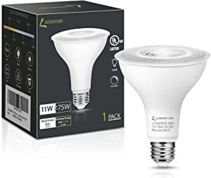 LOHAS PAR30 LED Bulb, Dimmable Long Neck LED Flood Light Bulb, UL Listed, 11W (75W Equivalent) Spotlight, E26 Base Dimmable Indoor/Outdoor Lights, Daylight 5000K, 120V, 850Lm, 40°Beam Angle