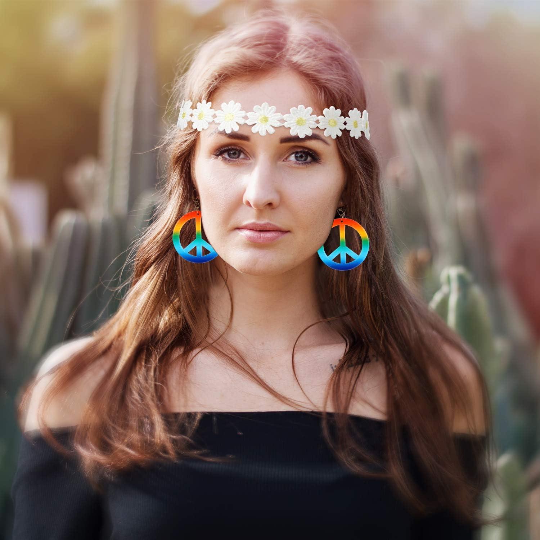 Conjunto de Disfraces de 3 Piezas con Estilo Hippie, Incluye Gafas ...
