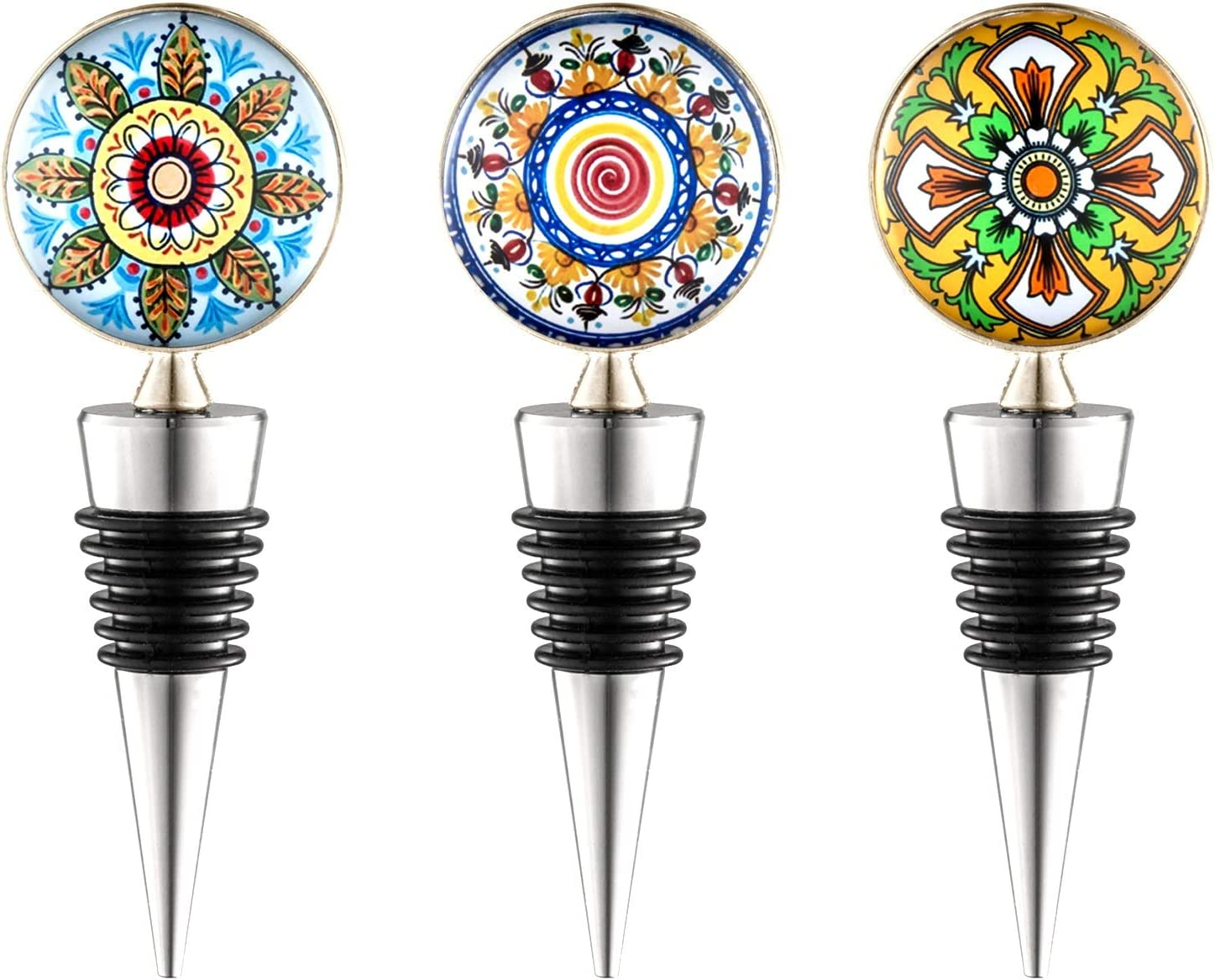 SUNBRIGHT Wine Stoppers,Reusable Beverage Bottle Stoppers for Gifts,Bar,Kitchen, Set of 3