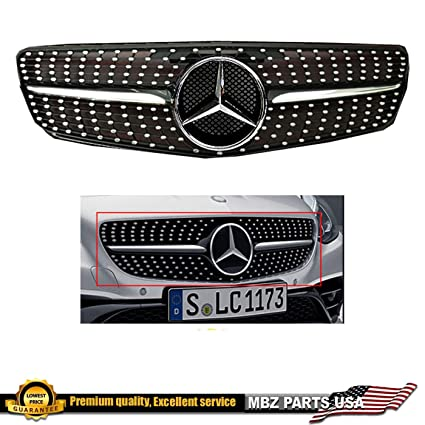Mercedes-Benz W204 C-Class Black-Chrome diamond grille 2008 209 2010 2011  2012 2013 2014 C200 C250 C300 C350 coupe/sedan with OEM star emblem glossy