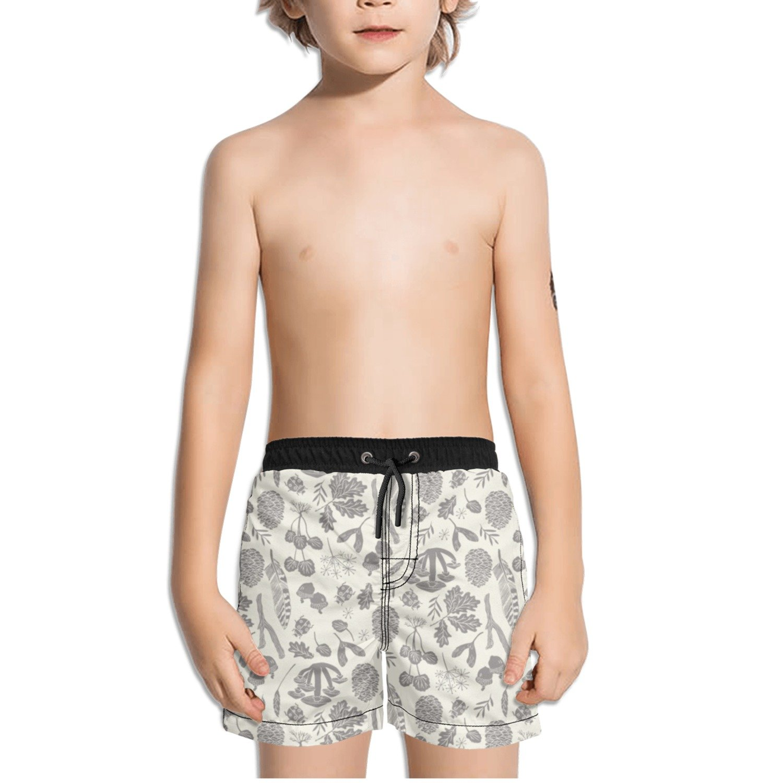 Ouxioaz Boys Swim Trunk Grey Autumn Leaves Beach Board Shorts