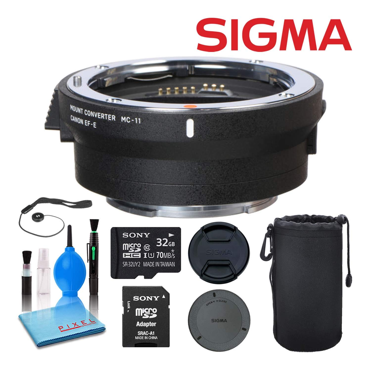 Sigma MC-11 Mount Converter/Lens Adapter (Sigma EF-Mount to Sony E) 89E965 Best Value Bundle Includes - 32GB Memory Card + Lens Pouch + 5-Piece Lens Cleaning Kit + Much More by Sigma