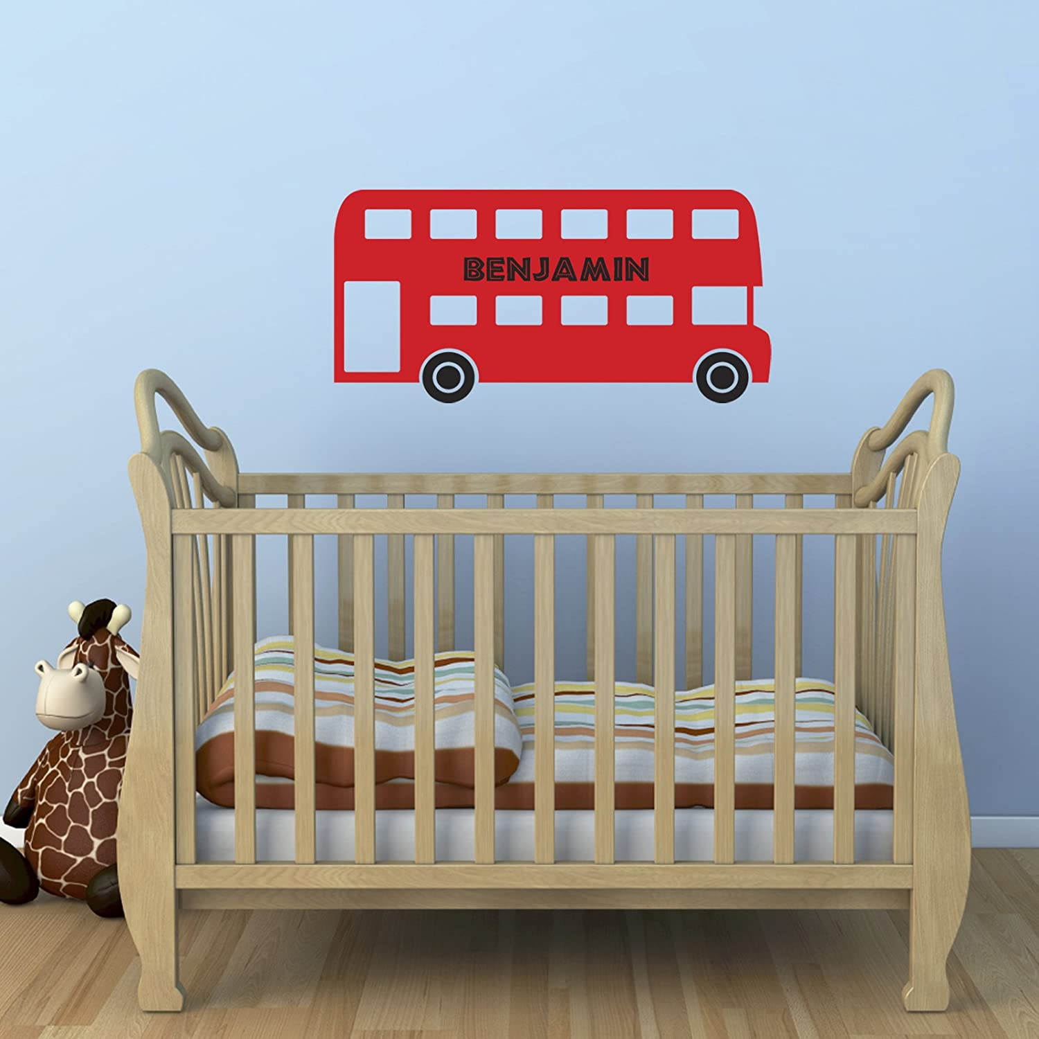 personalised red bus wall sticker boys name sticker amazon co personalised red bus wall sticker boys name sticker amazon co uk kitchen home