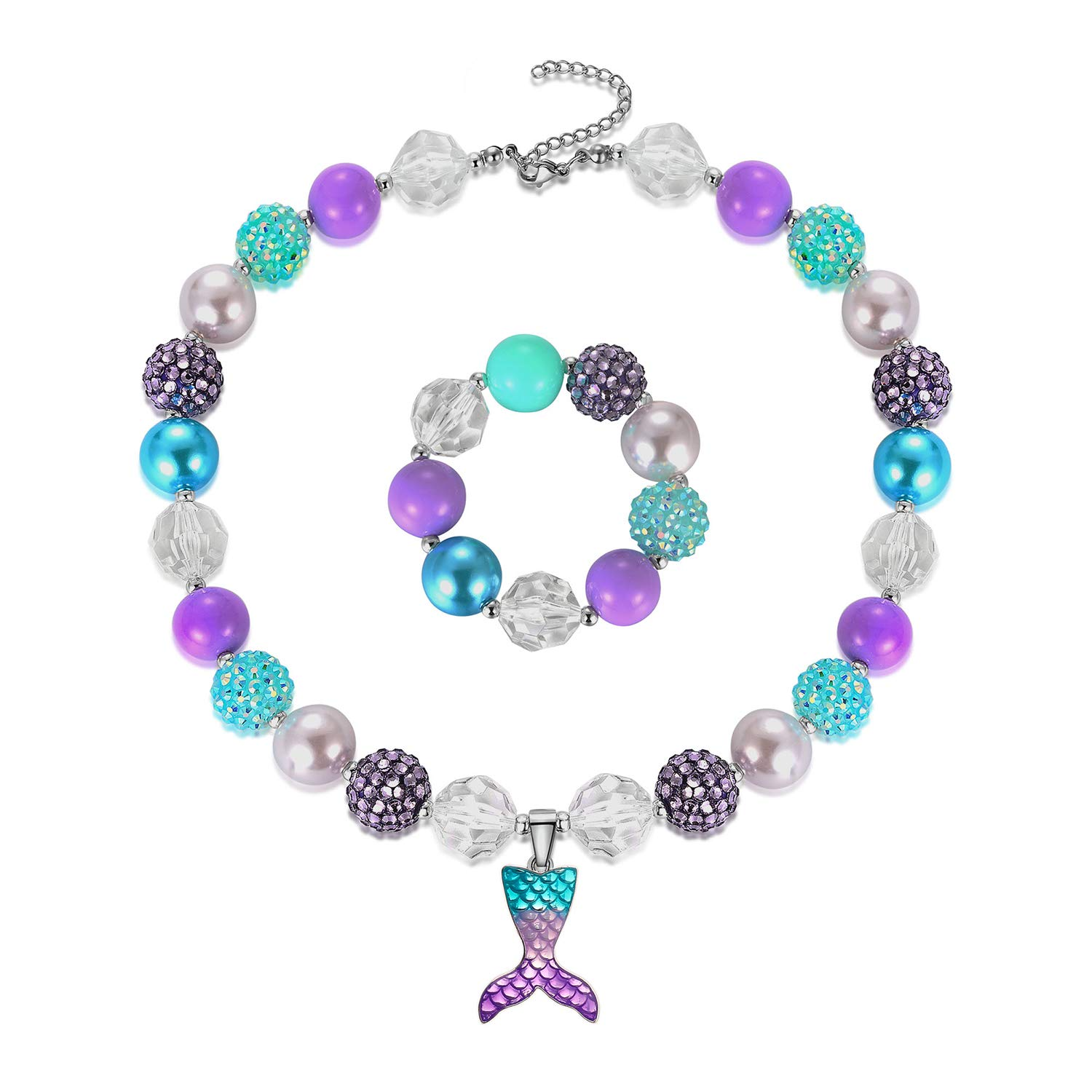 Mermaid Pendant Necklace Bubblegum Toddler Sparkly Bead Bracelet Jewelry Set For Kids First Birthday Gifts