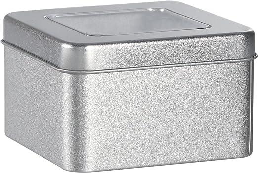 BESTonZON Cajas metálicas cuadradas de Metal Plateado Cajas metálicas Transparentes para Velas, Comida, artesanía ...