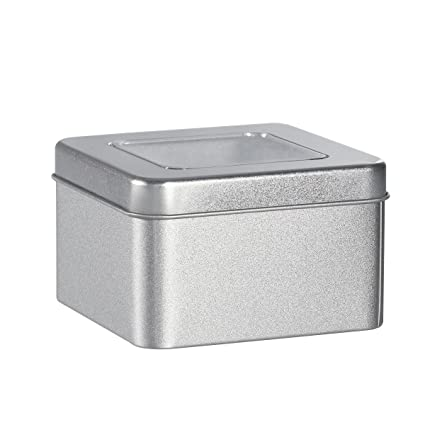 Amazon Com Bestonzon Square Silver Metal Tins Clear Top Metal