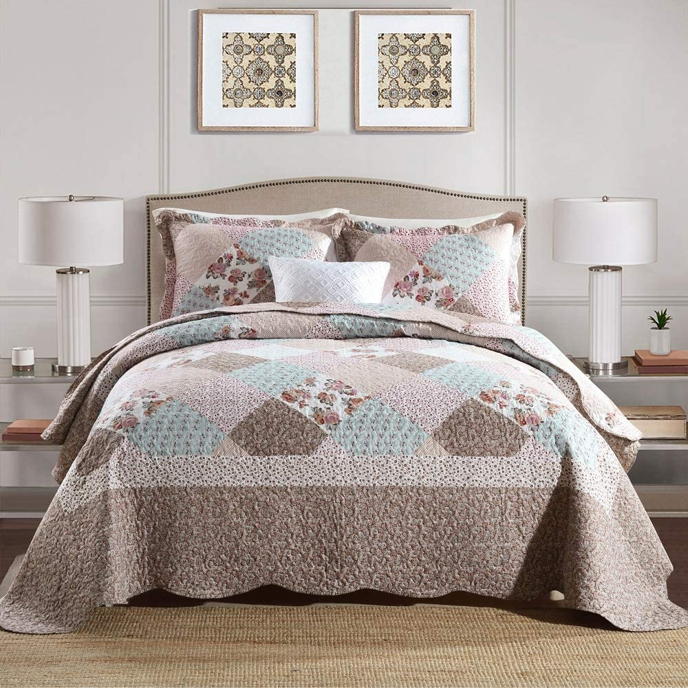 Travan 3-Piece Queen Quilt Set Quilted Bedspread Lightweight Coverlet Set Oversized Quilted Set with Shams Bedding Set for All Season