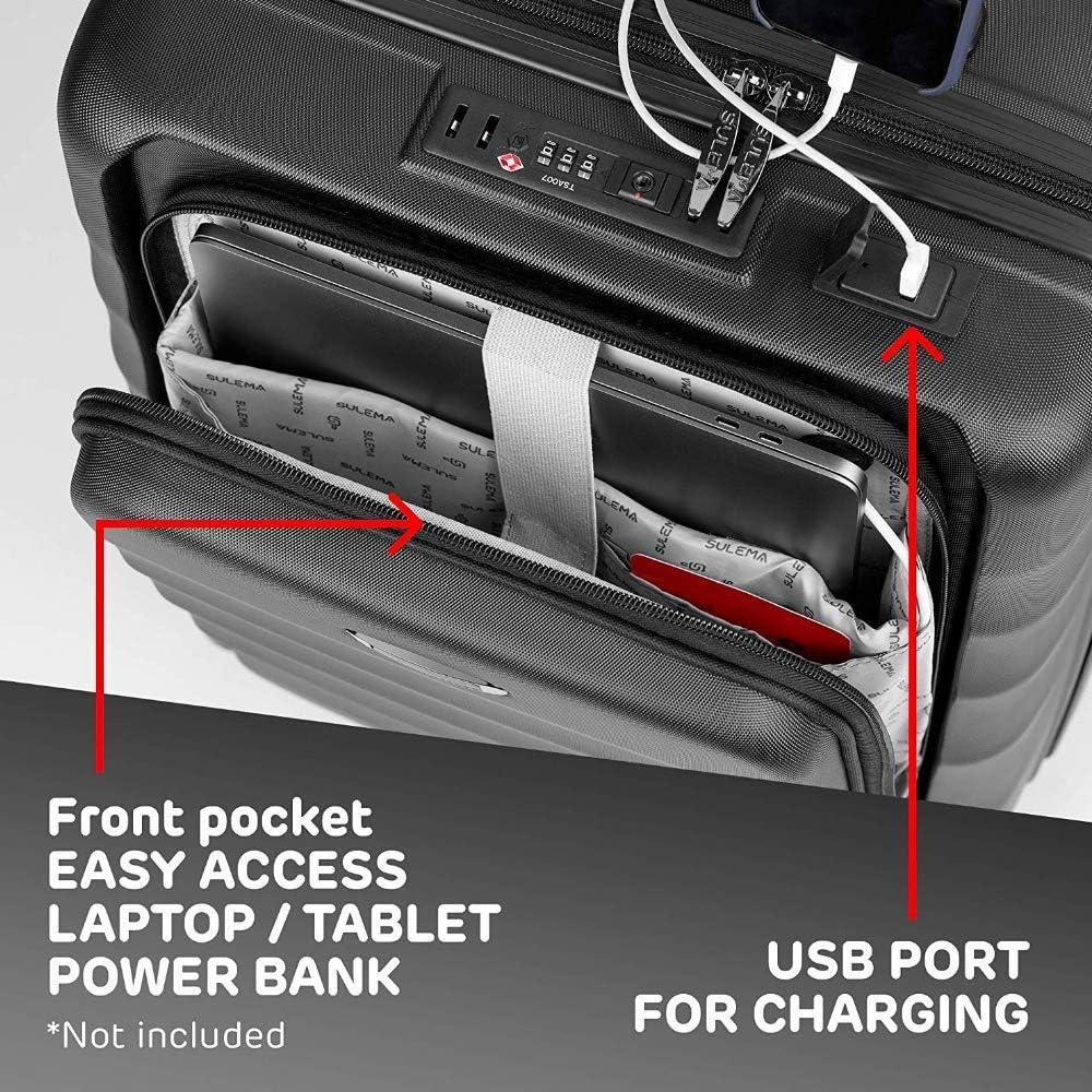 Valigia bagaglio a mano 55x40x20 porta PC Trolley Cabina Bagaglio Rigido e Leggero 4 Ruote Doppie Giro 360/º Lucchetto TSA Sulema USB valigia media american tourister//ryanair Grigio