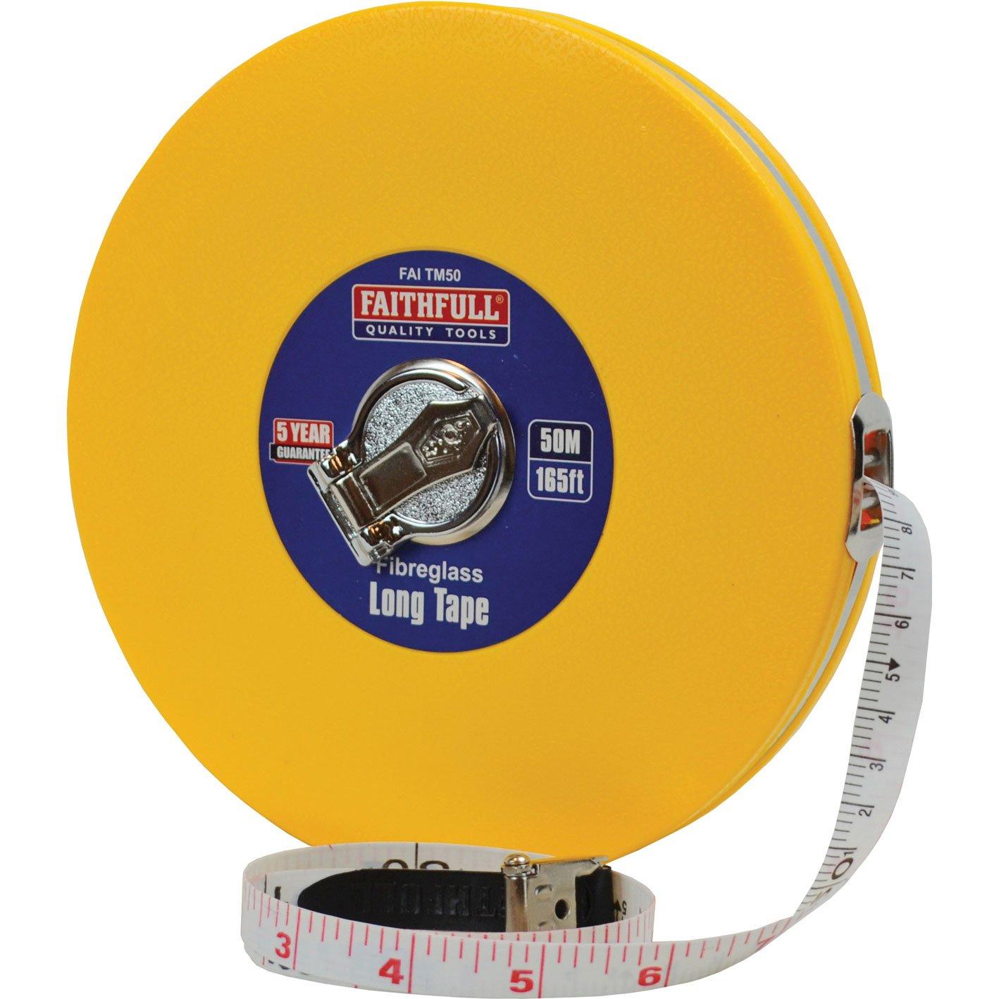Faithfull Tools faitm50 50 m/165 ft geschlossen ABS Fiberglas lang Tape –  Gelb