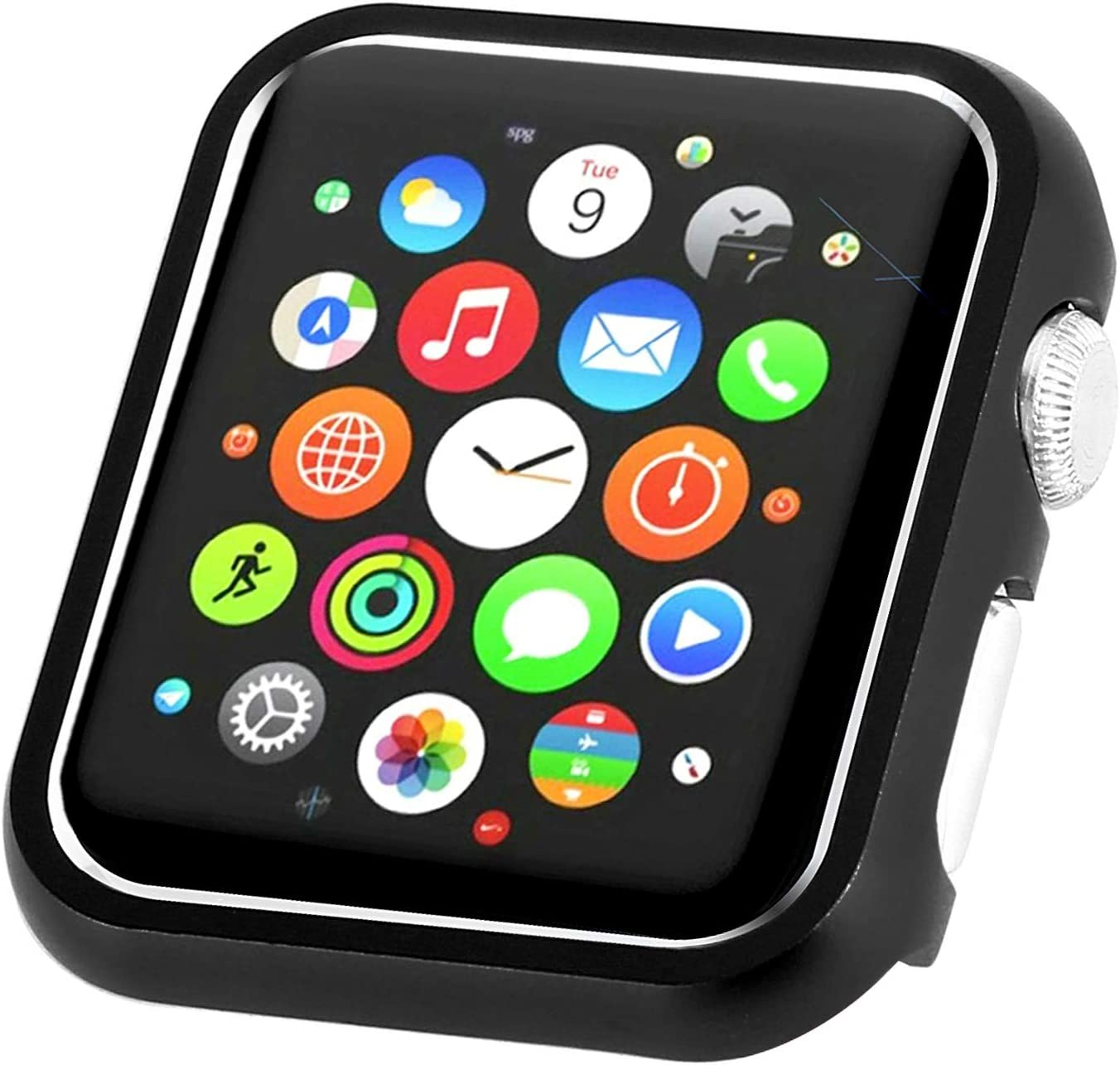 Leotop Compatible with Apple Watch Case 38mm 42mm, Compatible iWatch Bumper Metal Protective Cover Aluminum Alloy Frame Bling Shiny Protector Compatible Apple Watch Series 3/2/1(Matte Black, 38mm)