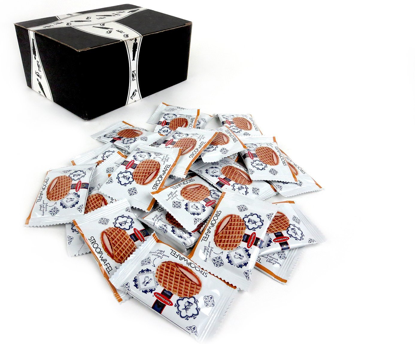 Daelmans Bite Size Caramel Stroopwafels, 0.28 oz Packages in a BlackTie Box (Pack of 25)