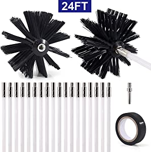ZNCMRR 22-Piece 24 Feet Dryer Vent/Duct Brush Cleaning Kit Chimney Cleaning Kit Lint Remover Working with or Without Drill Includes 2 Nylon Brush Heads, 18 Rods, 1 Drill Connector and 1 Tape