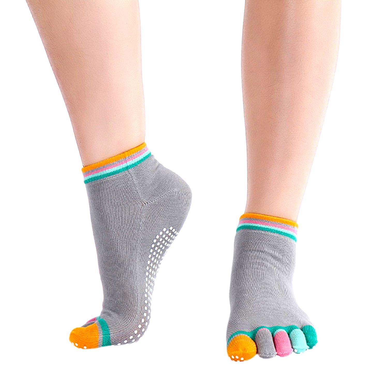 DAS Leben Non Skid Non Slip Running Toesox Yoga Toe Socks for Women