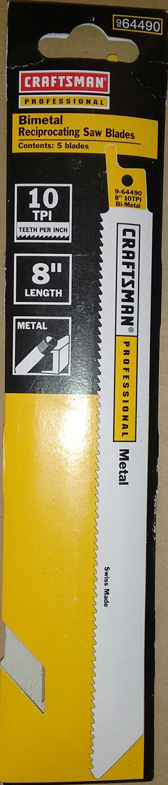 Craftsman Professional 8 in. 10 TPI Reciprocating Saw Blades 5 pc, Metal, Made in Switzerland 9-64490