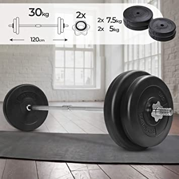 Physionics Barra de musculación de Pesas 30 kg - Barra Larga 120 ...